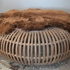 Big Round Bamboo Chair Hanging Kohls Large Rattan Ottoman With Thick Fur Cover By Franco