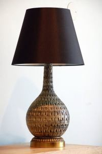Gourd Shaped Lamp with Custom Black Linen Shade at 1stdibs