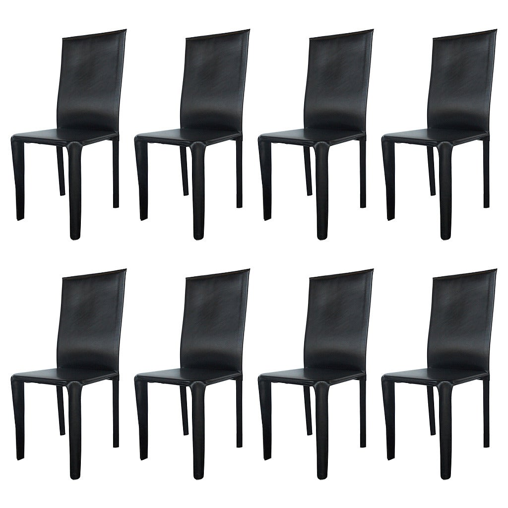 Black Leather Dining Chairs Twelve Italian Black Leather Dining Chairs By Arper For