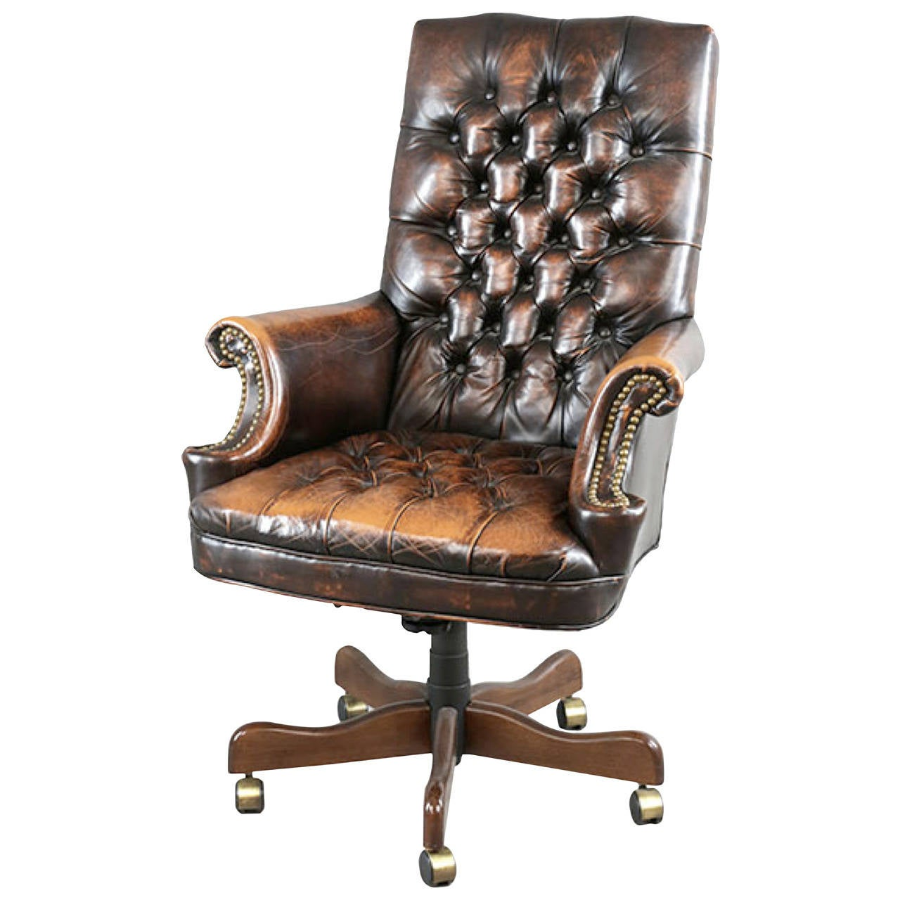 Executive Chair Leather Executive Chair With Worn Patina At 1stdibs