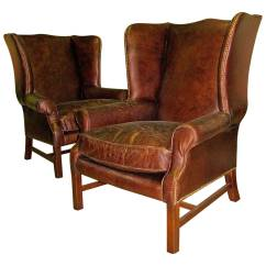 Leather Wingback Chairs Adec Performer Dental Chair Manual Two George Iii Style With Distressed