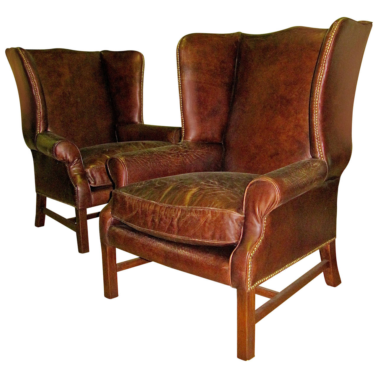 Wing Chair Two George Iii Style Wingback Chairs With Distressed