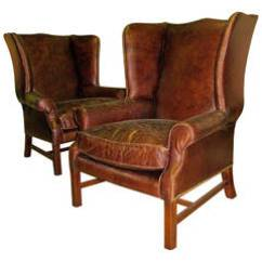 Leather Wingback Chairs Chicco Highchair Polly Magic 179 For Sale At 1stdibs Two George Iii Style With Distressed