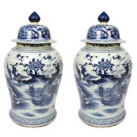 Pair of Blue and White Ginger Jar with Phoenix and Peonies ...