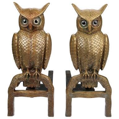 Fabulous Pair Of Bronze Owl Andirons At 1stdibs