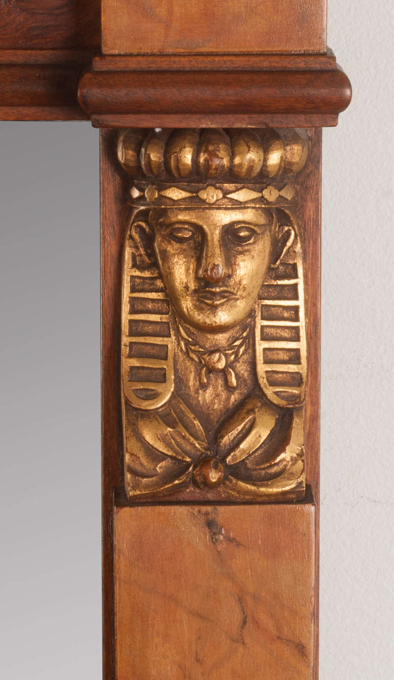 Art Deco Egyptian Revival Hand Carved Wooden Mirror At 1stdibs
