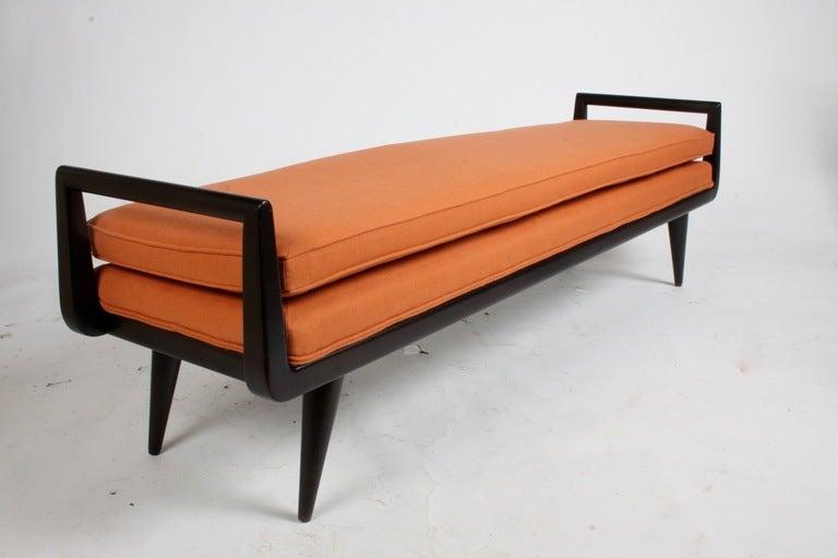 Mid-Century Modern Mahogany Bench With Burnt Orange