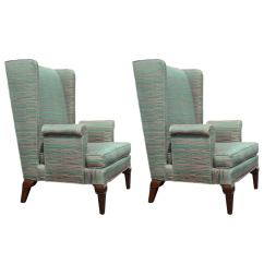 Tall Back Chairs Folding Chair Bed Singapore Pair Of Stylized Wingback Attributed To