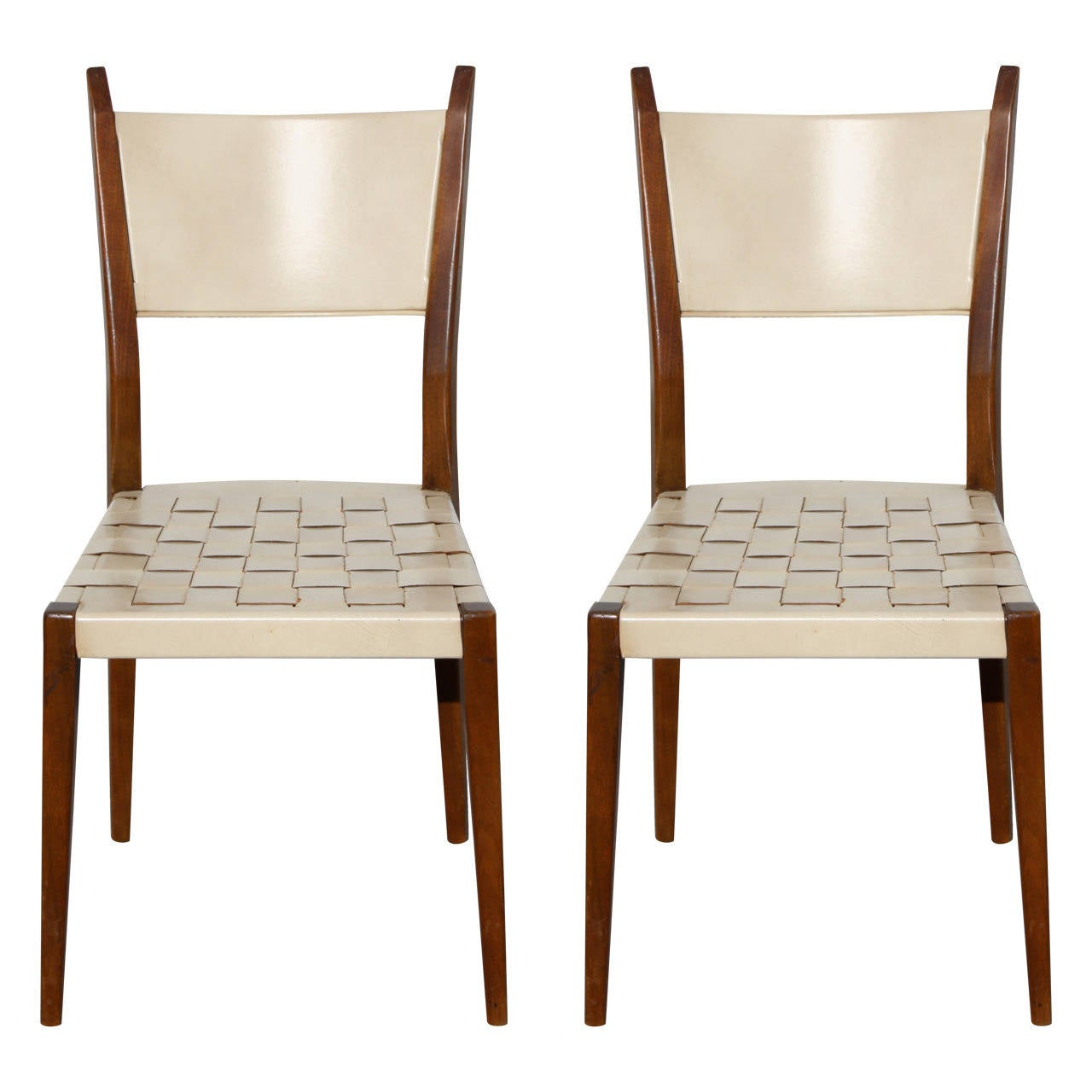 Leather Woven Chair Pair Of Paul Mccobb Side Chairs With Leather Woven Strap