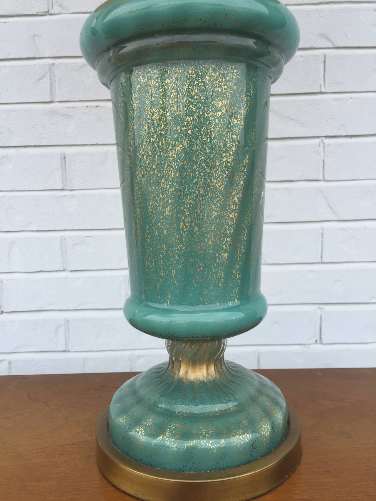 Paul Hansen Aqua and Gold Fleck Murano Table Lamp For Sale