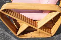 Paul Frankl Style Six Band Arm Rattan Lounge Chairs 1stdibs