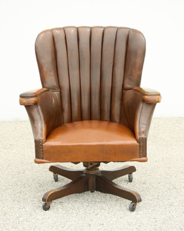 leather desk chairs posture wedge chair cushion large vintage with original circa 1940 s at 1stdibs american for sale