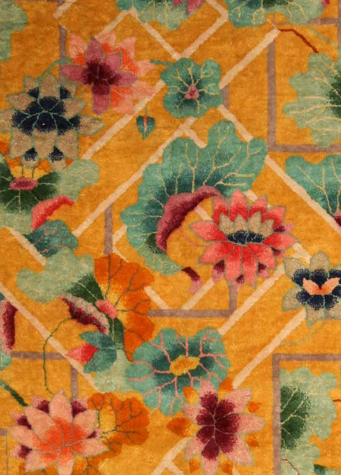 Vintage Chinese Art Deco Rug For Sale at 1stdibs