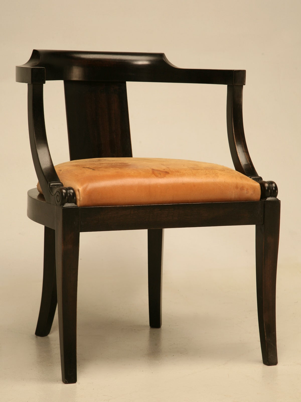 desk chair pad wood lawn chairs french ebonized mahogany antique with a leather