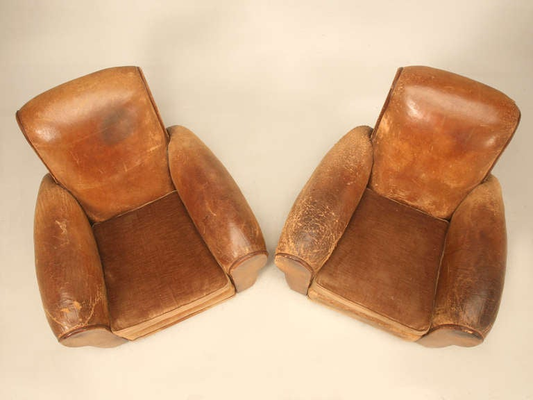 bernhardt brown leather club chair pink dining pair 1940's original french chairs at 1stdibs