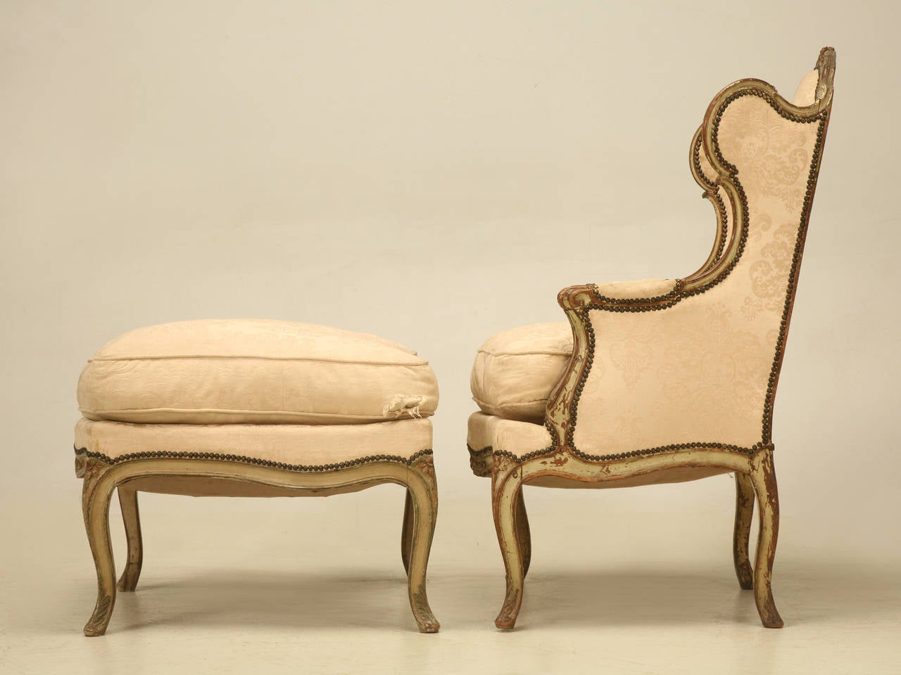 leather bergere chair and ottoman lowes outdoor lounge chairs louis xv style french antique in