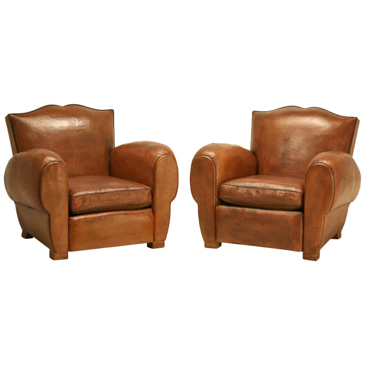 art deco club chairs leather chair legs for sale french original circa 1930s