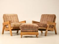 "Original Vintage 3pc Brandt ""Ranch Oak"" Club Chair and"