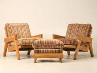 "Original Vintage 3pc Brandt ""Ranch Oak"" Club Chair and ..."