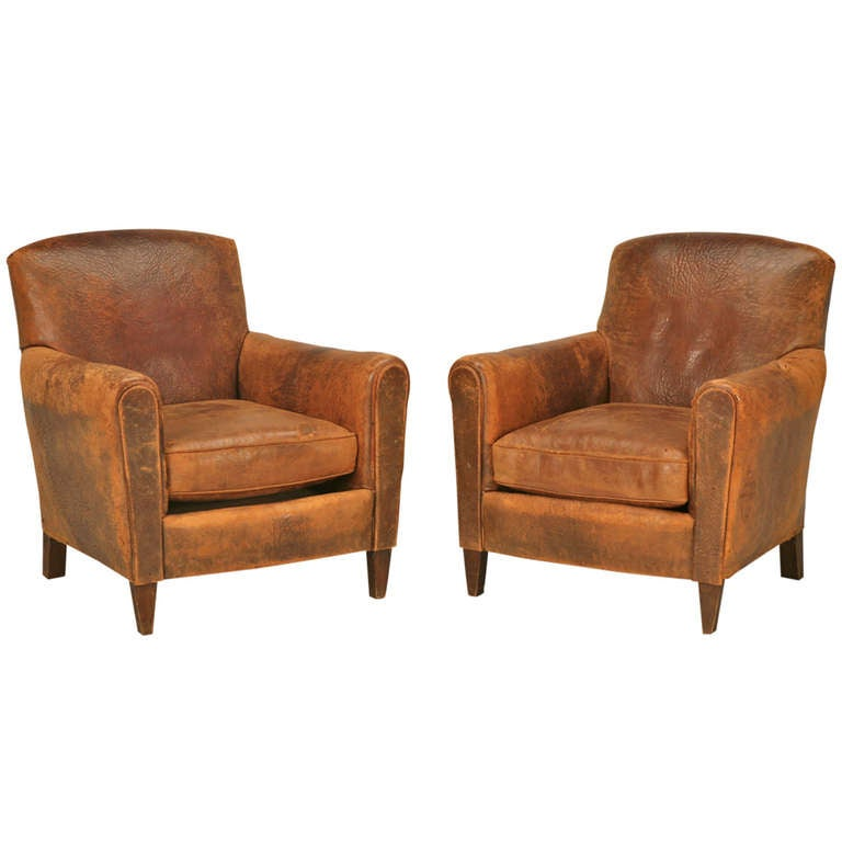 Stunning Pair of Original 1930s French Club Chairs w