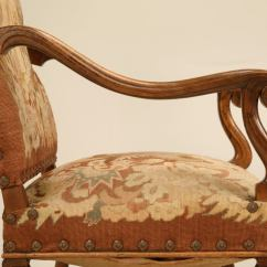 Antique Needlepoint Chair Lifetime Plastic Parts Pair Of Original French Walnut And