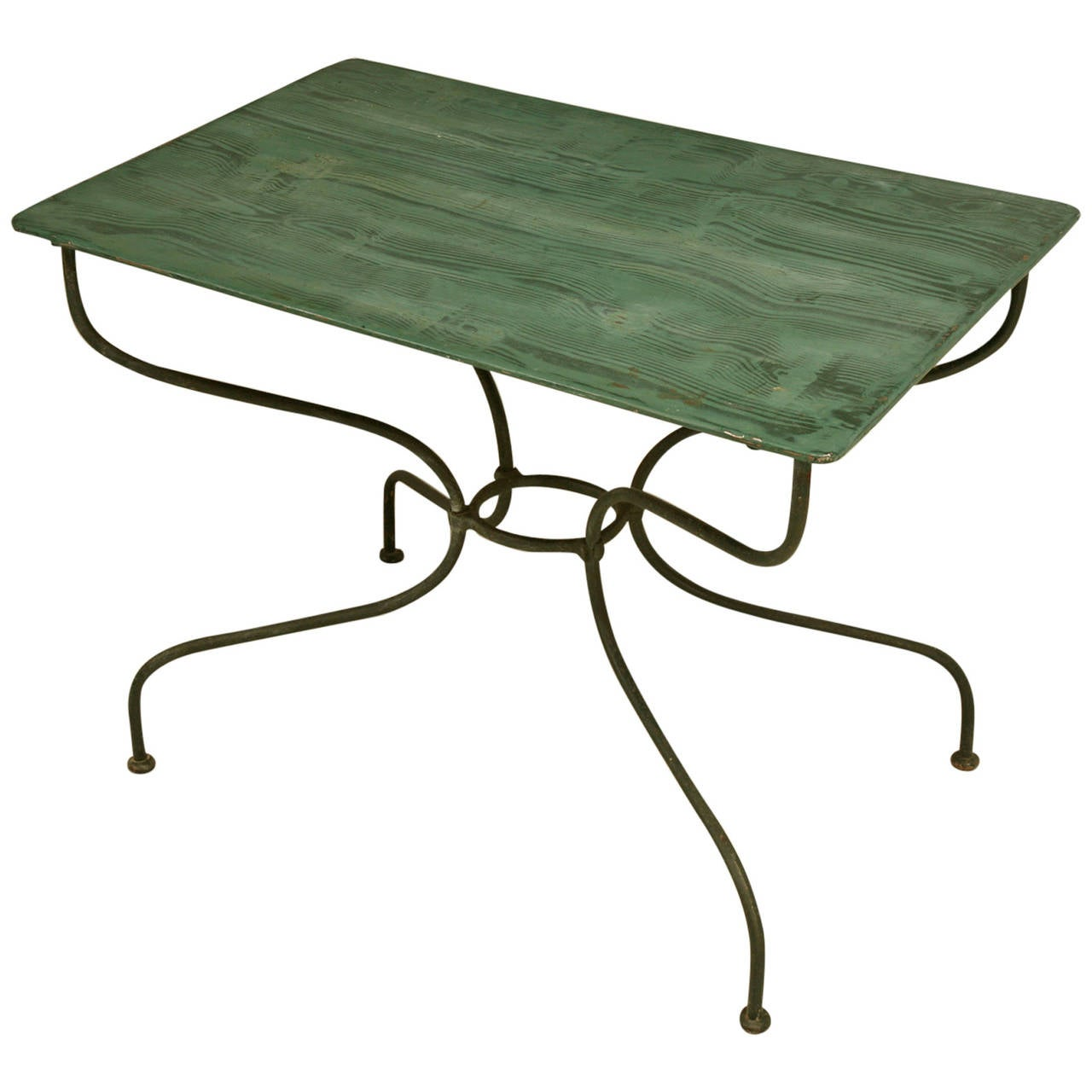 green french bistro chairs alera office vintage garden or kitchen metal table at 1stdibs