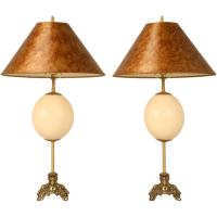 Pair of Vintage Ostrich Egg Lamps w/Frederick Cooper