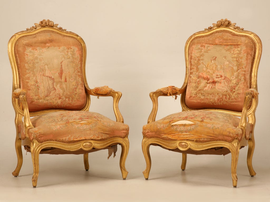 Pair Of Orig Antique French Gilt Aubusson Fabric
