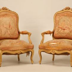 Antique Accent Chairs Outdoor Chair Swing Pair Of Orig French Gilt Aubusson Fabric
