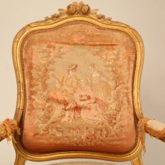 French Antique Chairs For Sale Rocking Swivel Living Room Pair Of Orig Gilt Aubusson Fabric