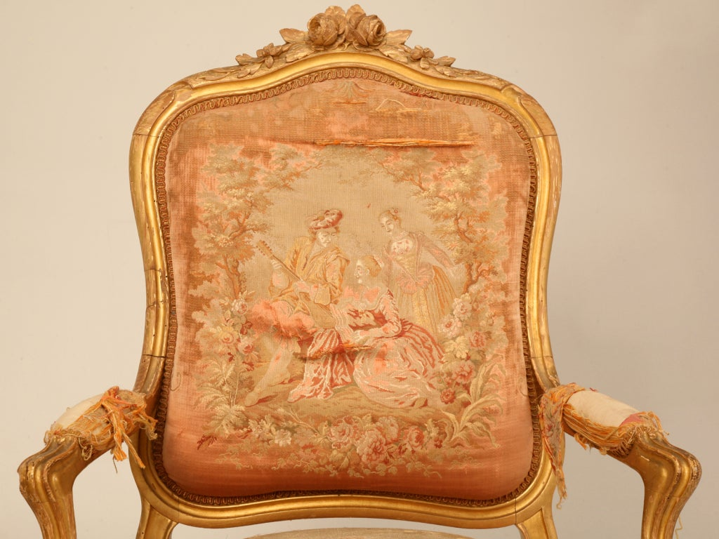 Antique French Chairs Pair Of Orig Antique French Gilt Aubusson Fabric
