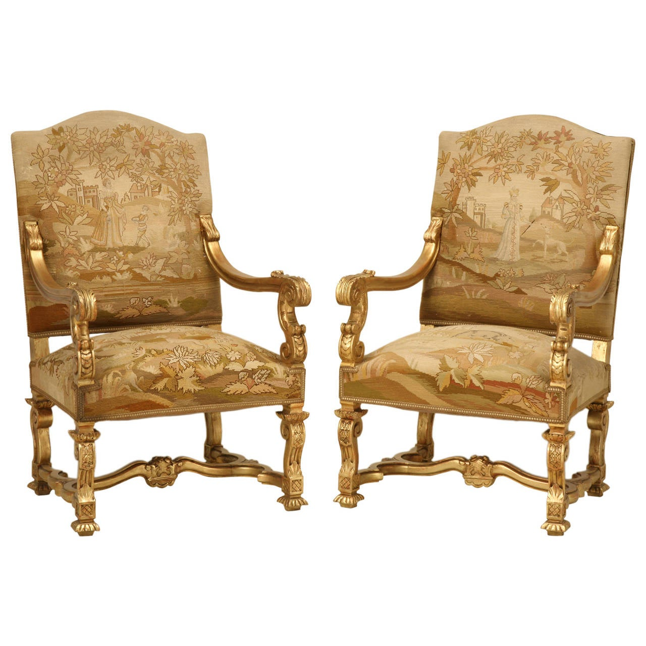 French Chairs Antique French Gilded Throne Chairs Circa 1900 For Sale