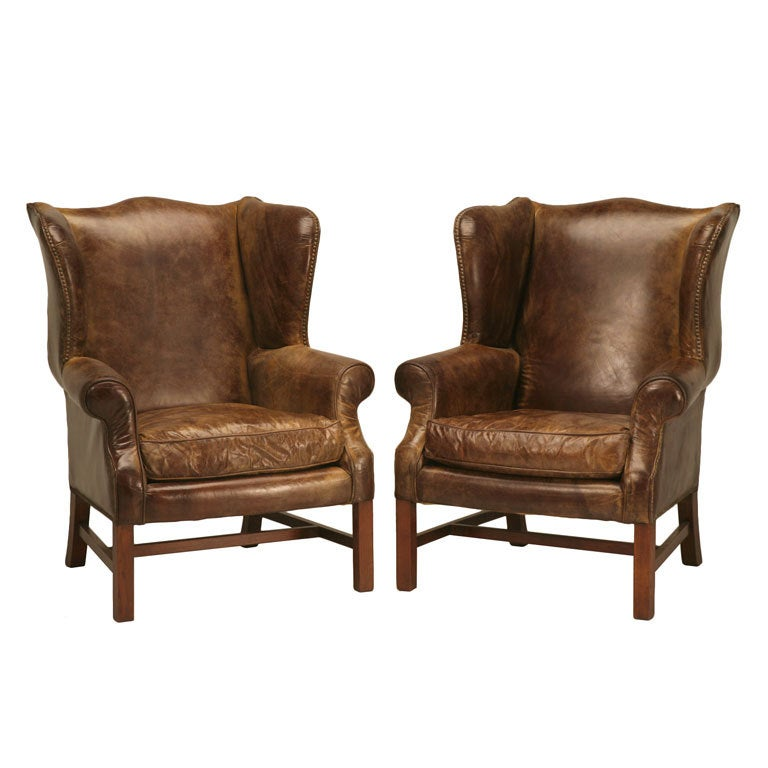 brown leather high back dining chairs kitchen stool chair outstanding pair of vintage distressed bomber wing at 1stdibs
