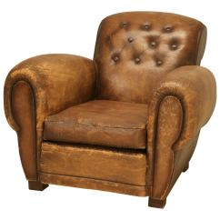 Art Deco Club Chairs Leather Round Oversized Chair French In Original At 1stdibs