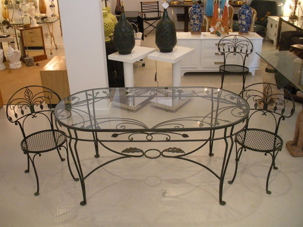 Wrought Iron Table And Chairs Vintage Salterini Wrought Iron Dining Table And Chairs At