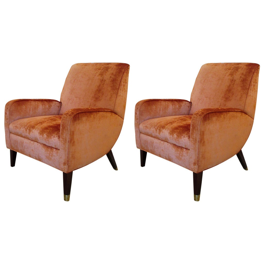 french velvet chair wheelchair carrier pair of vintage chablis chairs at 1stdibs