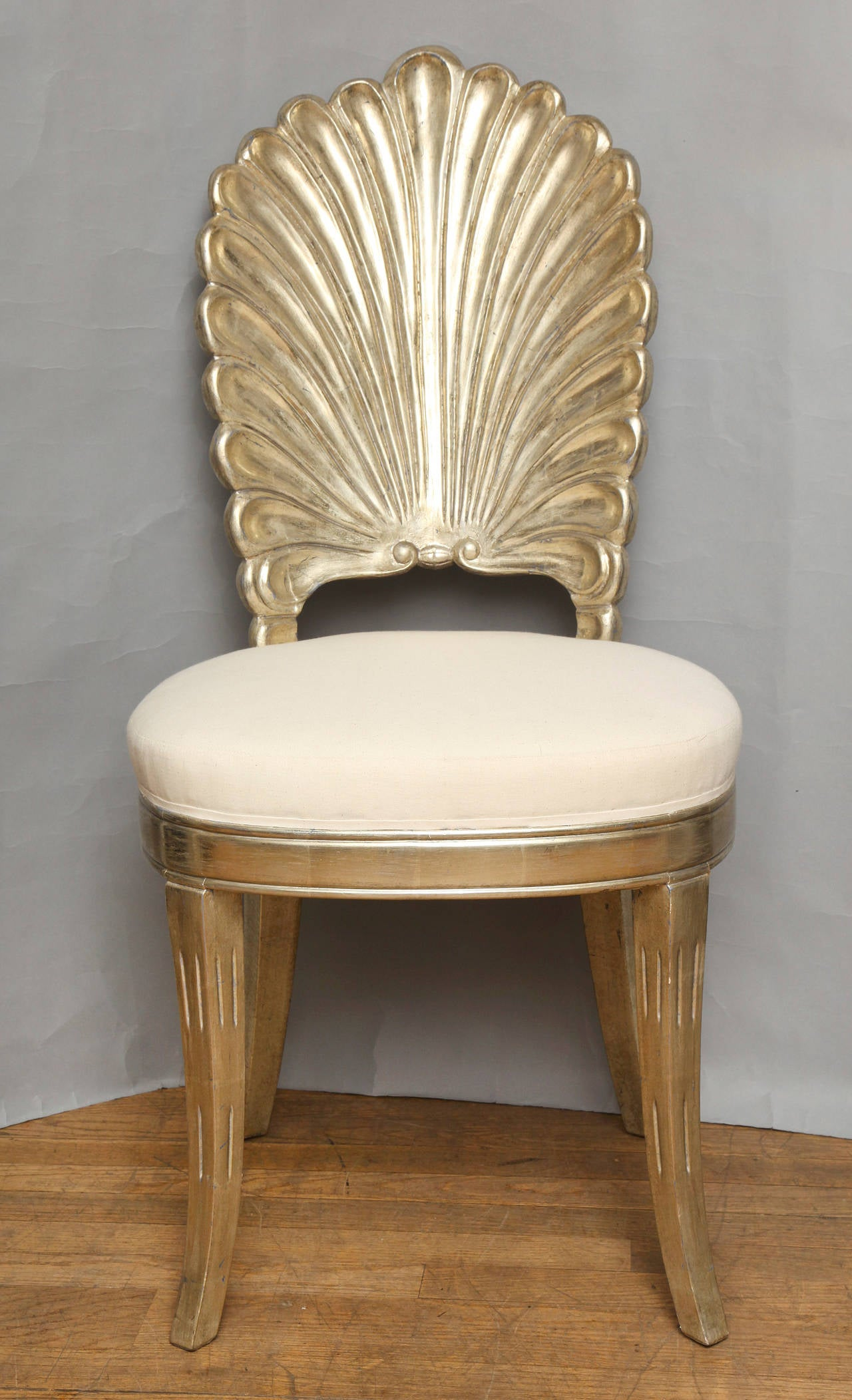 white shell chair walmart folding an italian back carved and silver leafed for