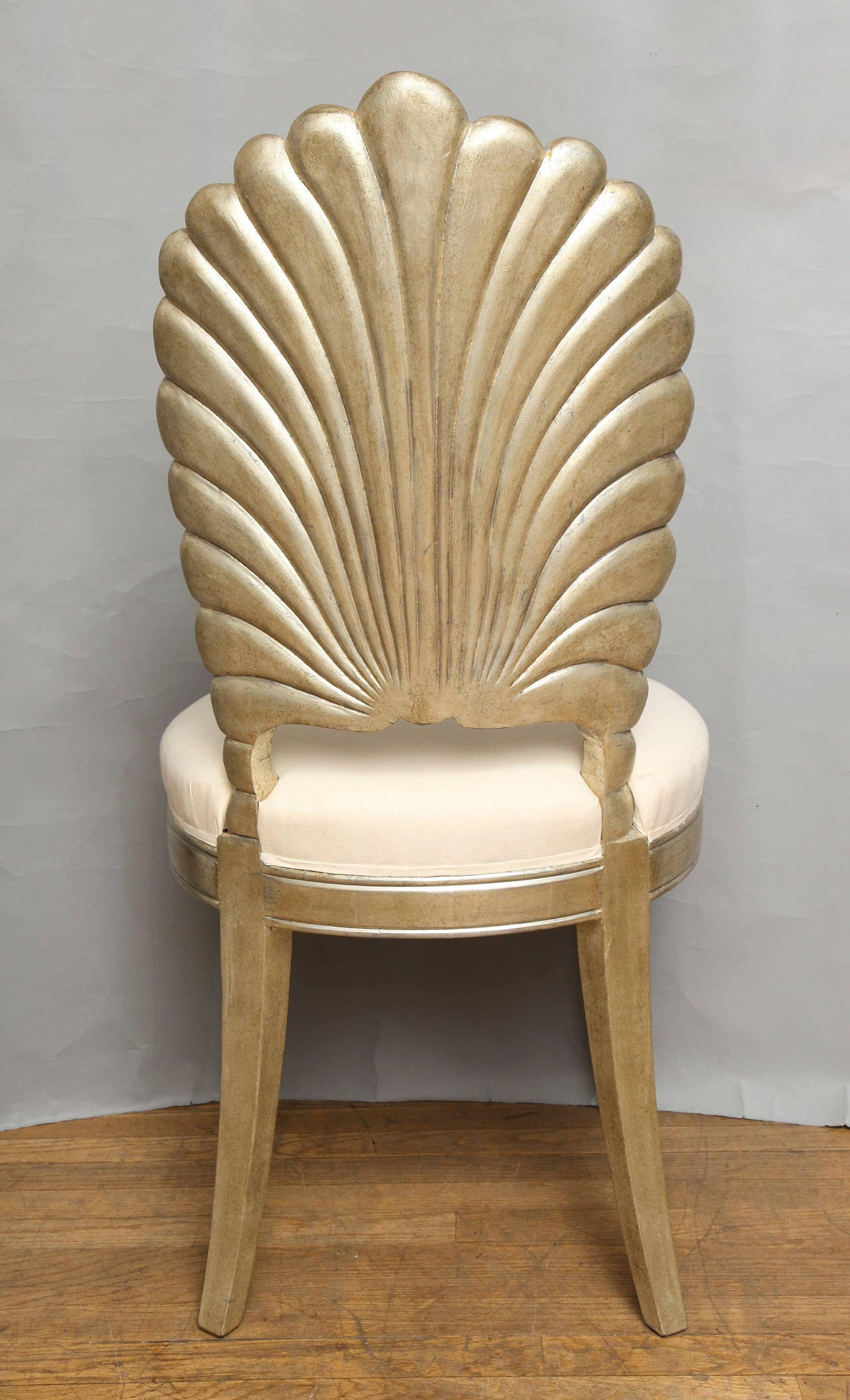 white shell chair duncan phyfe dining chairs an italian back carved and silver leafed for