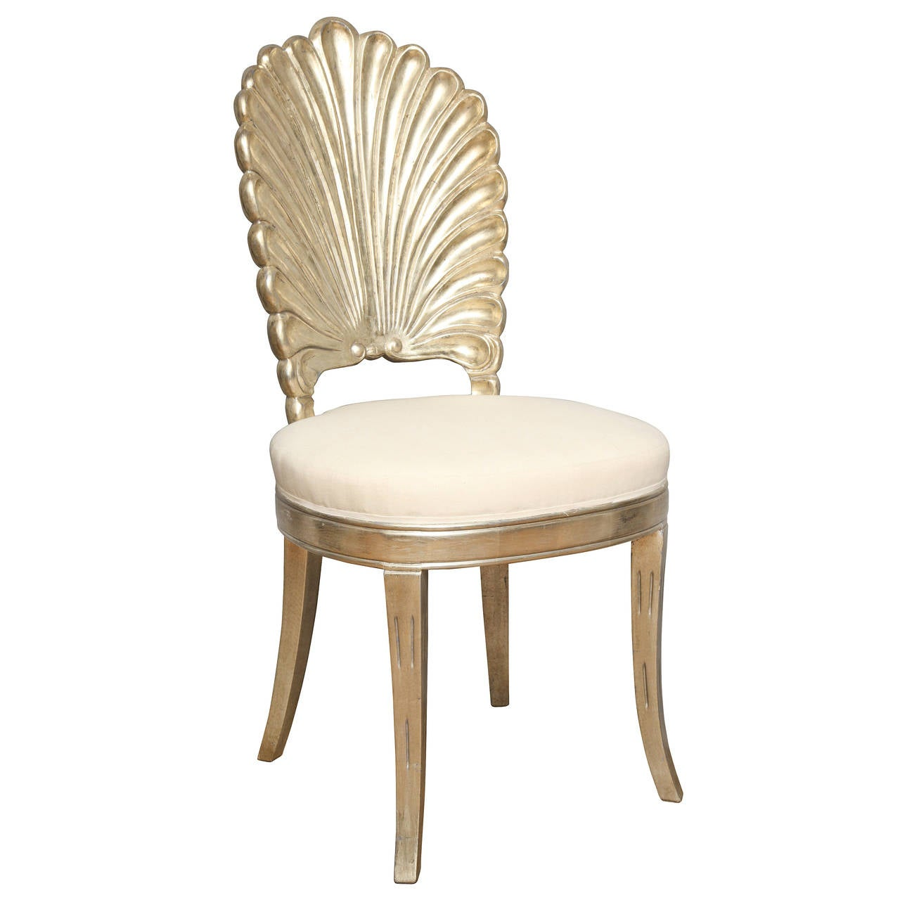 white shell chair texas star rocking an italian back carved and silver leafed for