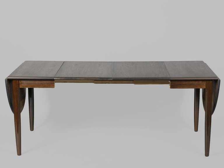 Danish Modern Oval Rosewood Dining Table With Two Leaves