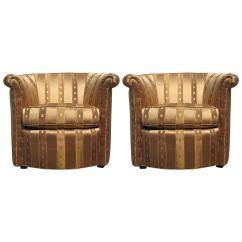 Barrel Chairs Swivel Rocker Folding Wood Boat Deck Elegant Pair Of At 1stdibs