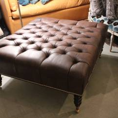Oversized Leather Chair And Ottoman Dining Room Cushion Covers Tufted For Sale At 1stdibs