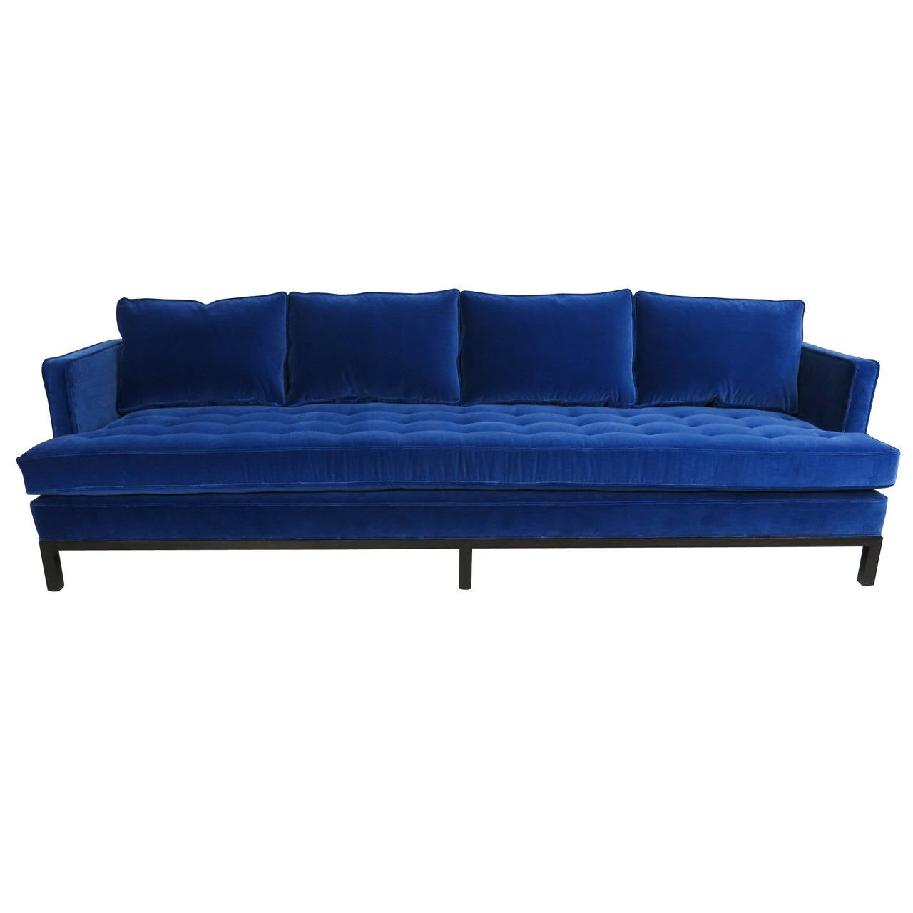 italian shelter arm sofa large purple throws harvey probber style in cerulean blue velvet