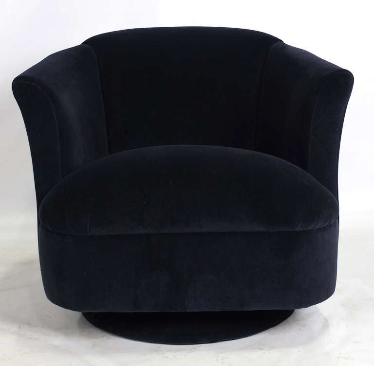 navy blue leather club chair inexpensive dining chairs pair of velvet swivel at 1stdibs