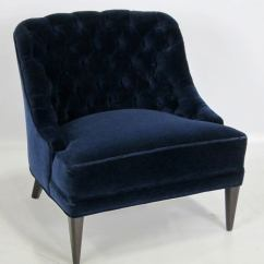 Navy Blue Velvet Slipper Chair Wood Living Room Chairs Pair Of Tufted Back Lounge At 1stdibs