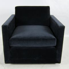 Navy Blue Leather Club Chair Swivel Keeps Dropping Pair Of Velvet Floating Cube Lounge Chairs At