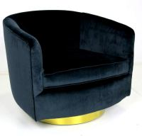 Pair of Navy Blue Velvet Swivel Chairs by Milo Baughman at ...