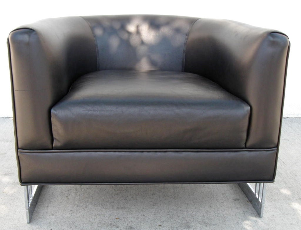 Black Barrel Chair Nickel Framed Leather Barrel Chair In The Style Of Milo