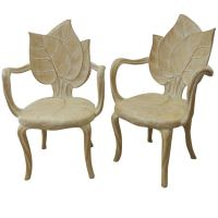 Pair of Leaf Carved Wood Chairs. at 1stdibs
