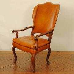 Upholstered Wingback Chair Desk Vs Exercise Ball Italian Rococo Walnut And Leather Reclining